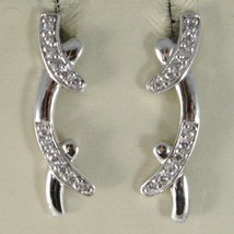 Earrings Silver 925 Run at Temple Hard with Zircon Cubic White image 1