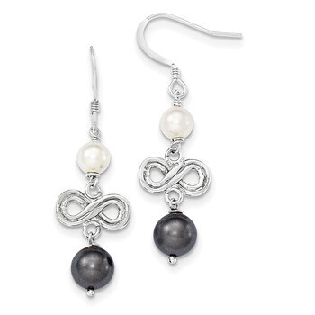 Primary image for Lex & Lu Sterling Silver Dark Grey and White Freshwater Cultured Pearl Earrings