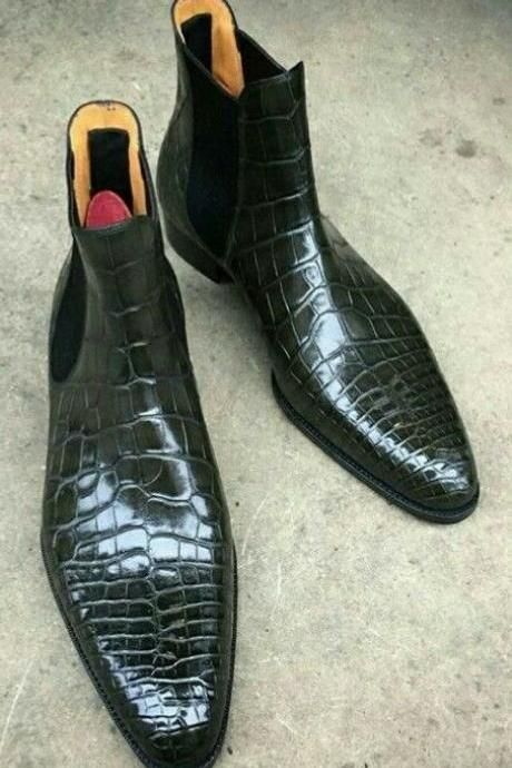 Handmade Men's Crocodile Texture Leather Chelsea Style Boot