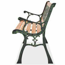 vidaXL Patio Wooden Garden Bench w/ Backrest Vintage Seat Diamond/Rose Design image 4