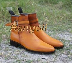 Handmade Men Tan Color Jodhpurs Leather Boot, Men Jodhpurs Ankle Boots, Men boot - $169.99+