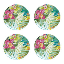 "Maui Melamine 9"" Salad Plates Tropical Set of 4 Coastal Living Beach House - $39.48"