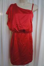 Jessica Simpson Dress Sz 4 Tango Red One Shoulder Slit Cocktail Party Wear - £56.40 GBP