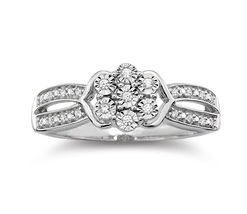 diamond blossom 1/10 CT. T.W. Diamond Cluster Sterling Silver Ring - $100.00