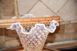 "Fenton? Clear White  MOONSTONE Glass Hob Nail Ruffled Top Vase 7.5""H image 4"