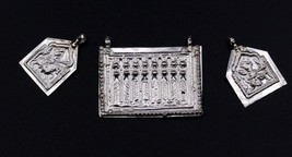 ANTIQUE OLD SILVER 3 AMULET PENDANT GOD GHUDSANWAR HANUMAN TRIBAL JEWELR... - $28.21