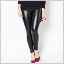 Black Wet Look Plus Size Faux Patent Leather Latex Stretch Pants Winter Legging