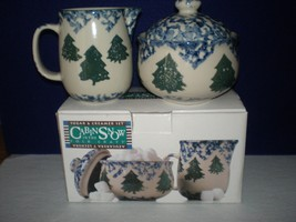 TIENSHAN CABIN IN THE SNOW HANDLED CREAMER & SU... - $19.99