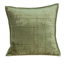"20"" x 7"" x 20"" Transitional Olive Solid Quilted Pillow Cover With Poly I... - $60.96"