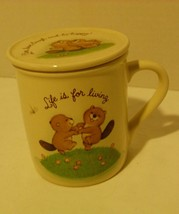 Hallmark Mug Mates Beavers Live Love Laugh & Be Happy Mug & Lid - $5.98
