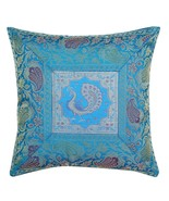 "12 "" Brocade Silk Pillow Cover With Traditional Peacock Prints Turquoise... - $7.91"