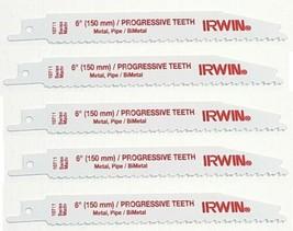 """Irwin 10711 6"""" Bi-Metal Progressive Teeth Reciprocating Saw Blades 5pcs - $4.95"""