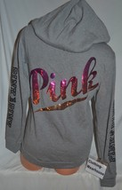 Victoria's Secret PINK Full Zip Hoodie Ombre Sequin Bling Gray Black Log... - $109.79