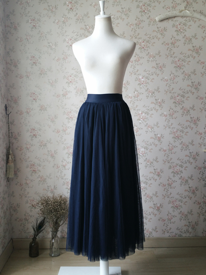 NAVY BLUE Elastic Waist Tulle Maxi Skirt Navy Wedding Bridesmaid Skirts Floor