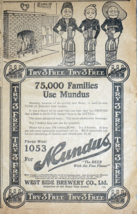 West Side Brewery - 1914 Detroit Newspaper Ad - 75,000 Families Use Mundus - $9.99