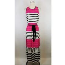 Ann Taylor LOFT Striped Maxi Dress Belted Medium M Jersey Knit Sleeveless - $374,68 MXN