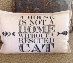 Rescue Dog Pillow 12x18 lumbar cat dog adoption humane animal protection aspca - $22.00