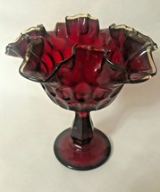 Vintage Fenton Ruby Red Thumb Print Amber Crest  Compote with Ruffled Rim - $19.79
