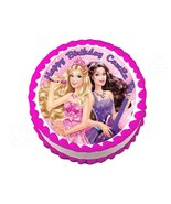 Barbie Princess and the Popstar Round Edible Cake Image Cake Topper - $8.98+