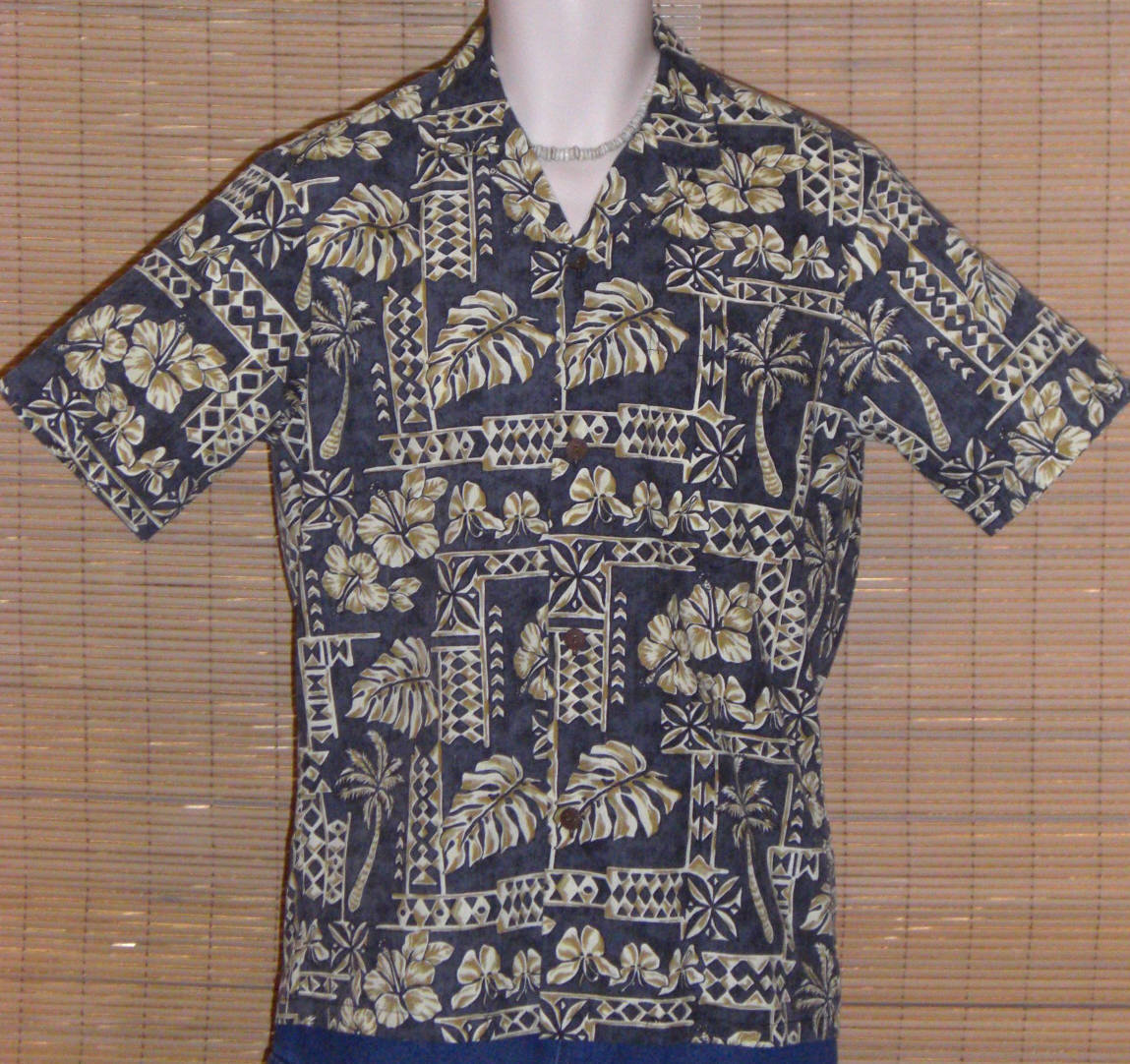 Primary image for Royal Creations Hawaiian Shirt Blue Gray Tan Small LN