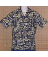 Royal Creations Hawaiian Shirt Blue Gray Tan Small LN - $23.99
