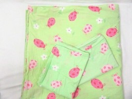 The Company Store Ladybug Floral Pink Green Full/Queen Duvet and Pillowcases - $49.00
