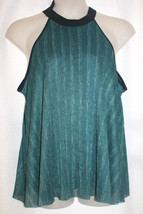 NEW WOMENS PLUS SIZE 3X TEAL GREEN WITH SILVER THREADS HALTER TOP FULLY ... - $16.44