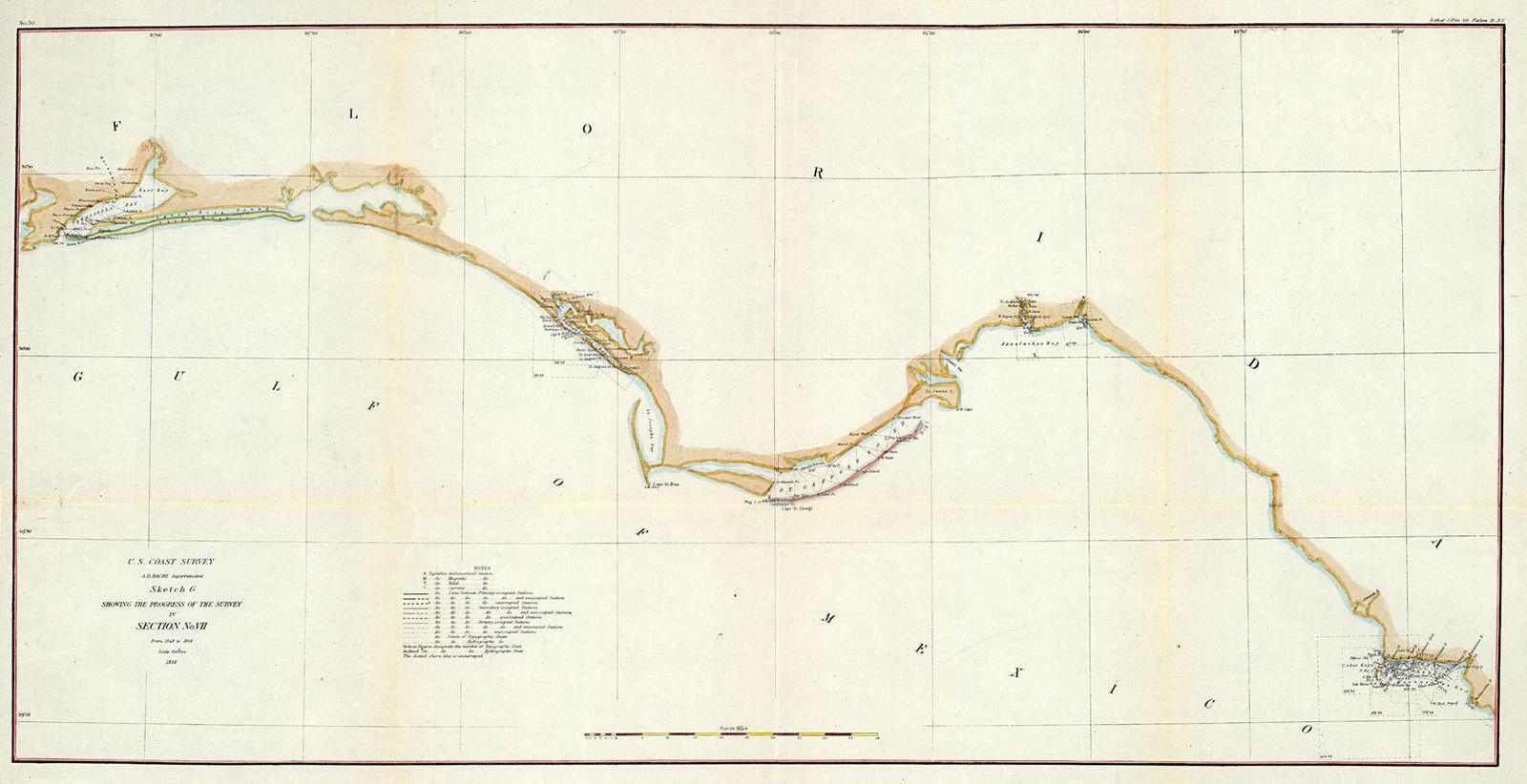 1855 Florida Panhandle Map U.S. Survey chart and 50 similar items