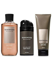 3 Pc. Bath & Body Works TEAKWOOD Trio Body Wash Deodorizing Spray & Body... - $37.11