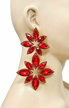 """4.75"""" Long Huge Red Flowers Crystal Statement Clip On Earrings Drag Queen Party - $38.00"""
