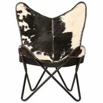 vidaXL Genuine Goat Leather Butterfly Chair Black White Armchair Furniture image 3
