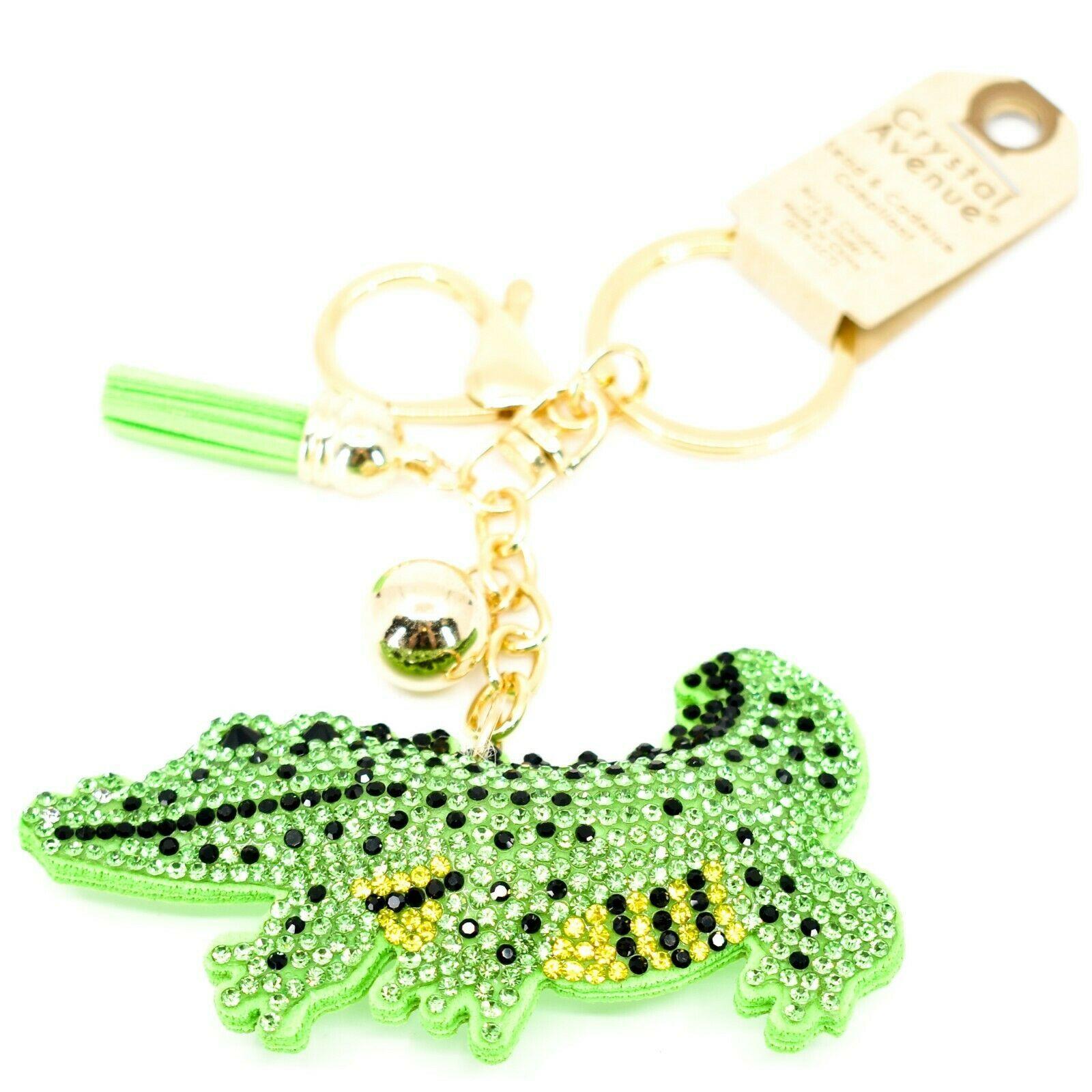 Pave Crystal Accent 3D Stuffed Pillow Alligator Crocodile Keychain Key Chain