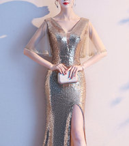 Women Gold Sequin Dress Cap Sleeve High Slit Sequin Maxi Wedding Dress,Plus Size image 1