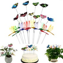 Lwestine 12 Pieces Dragonflies Stakes and 10 Pieces Garden Butterflies S... - $14.04