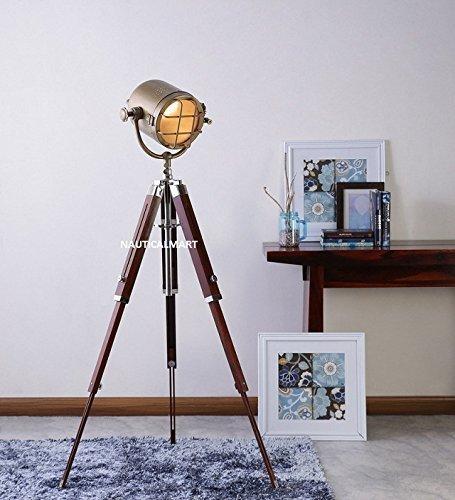 NAUTICALMART ANTIQUE DESIGNER'S FLOOR STANDING BRASS FINISH TRIPOD FLOOR LAMP - $177.21
