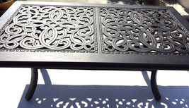 Outdoor Coffee Table Rectangular Patio Cast Aluminum Furniture Desert Bronze image 7