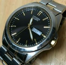 Citizen Men Dual Tone Black Steel Analog Quartz Watch Hours~Day Date~New... - $22.79