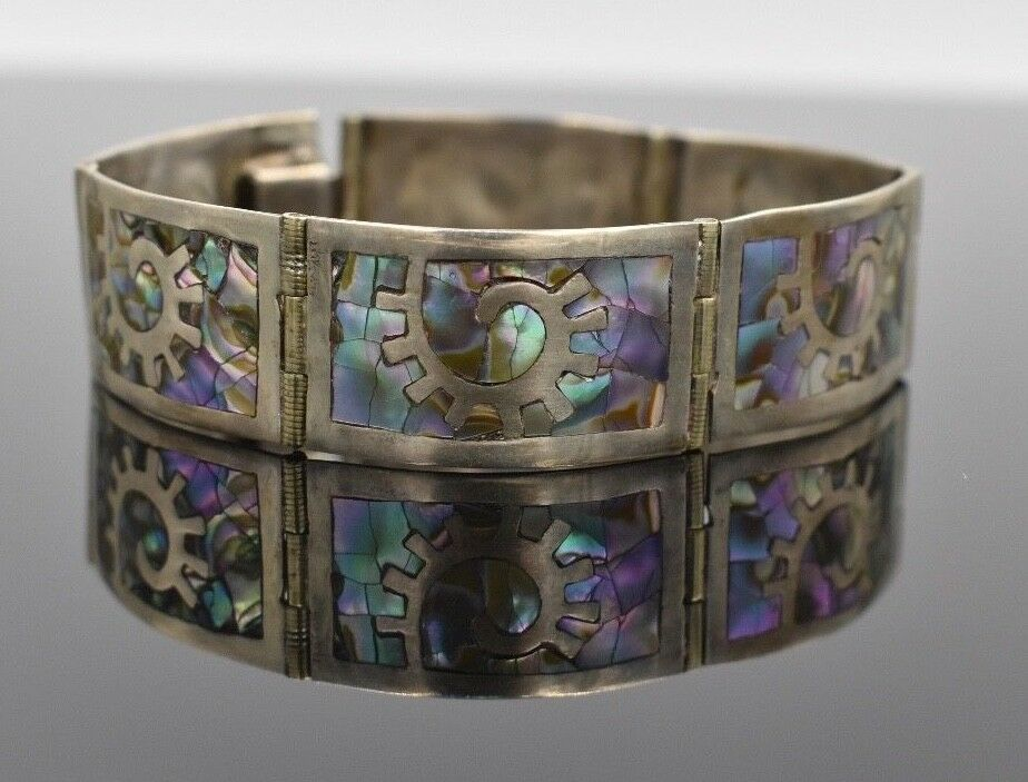 Primary image for LOS BALLESTEROS Sterling Silver Abalone Tile Bangle Bracelet Mexico Vintage 6.75