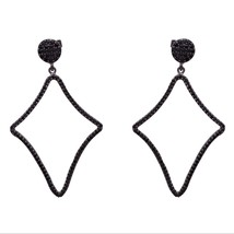 Round Cut Black Spinel Gemstone 925 Sterling Silver Dangle Cluster Women... - $32.95