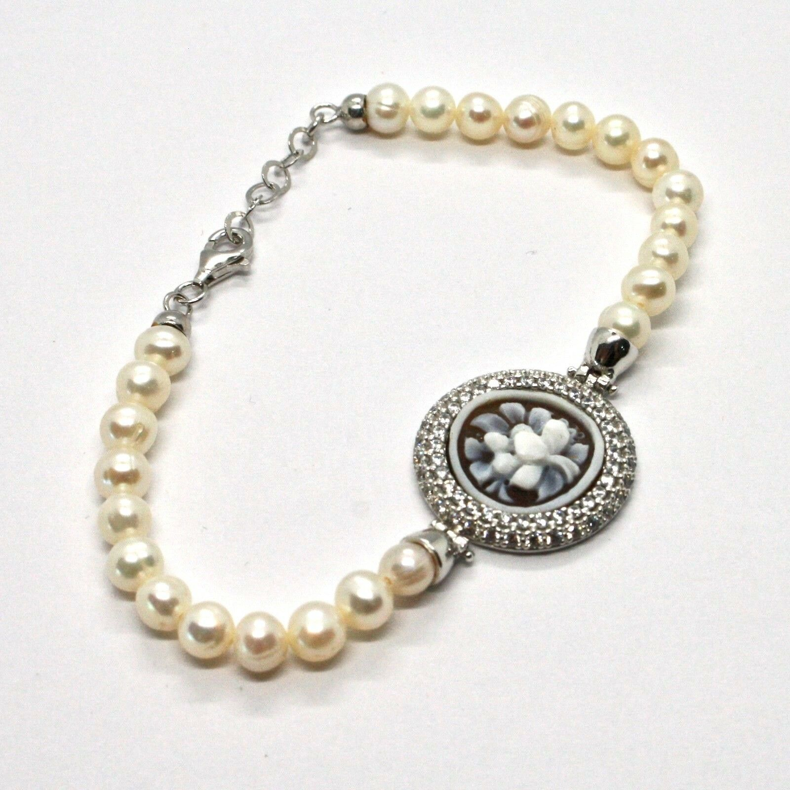 Silber Armband 925 mit Perlen von Wasser Dolce Kamee Kamee Zirkonia Kubische
