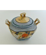 Lusterware Sugar Bowl With Lid Blue Gold Floral Gold Handles Hand Paint... - $18.69