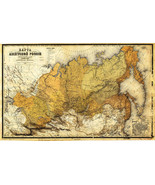 "LARGE 23""x36"" Wall Map 1868 Asiatic Russia Vintage Historic Home School Office - $26.24"