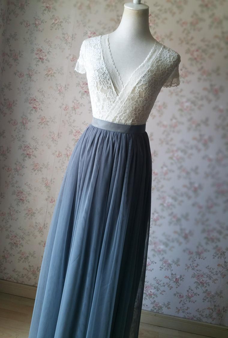 Dark gray wedding maxi tulle skirt 5