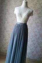 DARK GRAY Wedding Bridesmaid Tulle Skirt High Waist Gray Full Maxi Tulle Skirt image 3