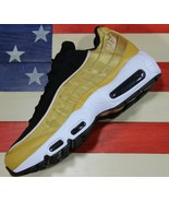 Nike Air Max 95 LX Women Running Shoes Wheat Gold Black White Satin [AA1103-700] - $67.10 - $68.70