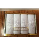 4 White embroidered Cotton Handkerchiefs New in a Box - $23.76