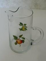 West Virginia Glass Juice Milk Pitcher with Fruit Design Apple Pear Open... - $14.84