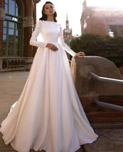 Solid Satin Long Sleeve Lace Appliques Country Court Train Wedding Plus Sizes image 2