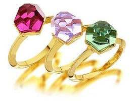 Authentic Signed Swarovski Nuts Multicolor 3 Rings Set 1128163 Sz 58 (8) 1090149 - $129.00