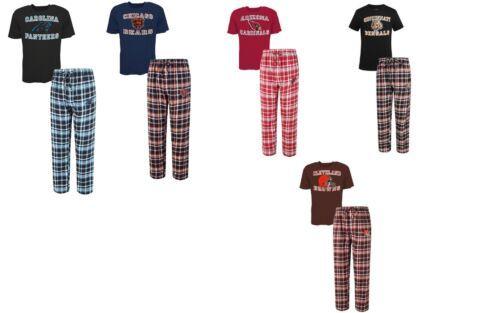 Men's NFL Tiebreaker Pajamas 2-Piece Sleep Set Tee Shirt Pants Licensed NEW